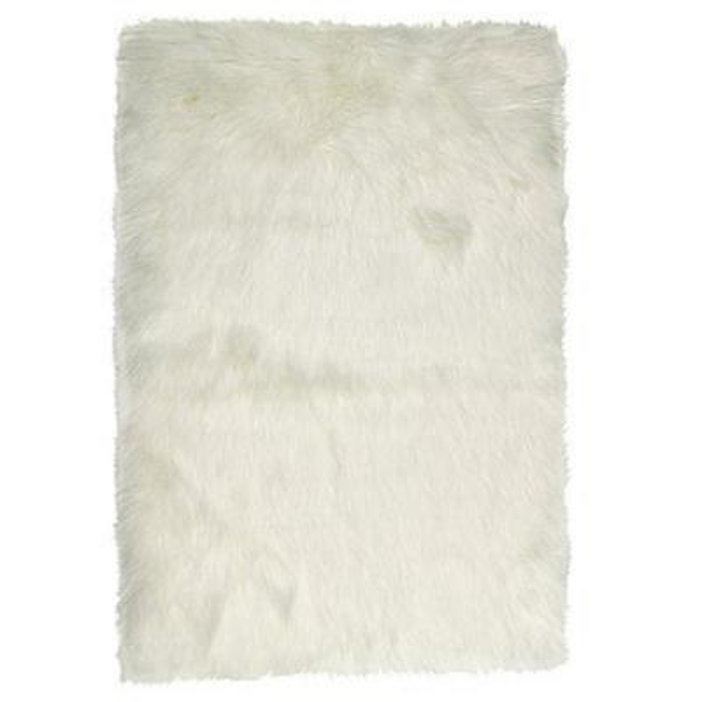 Josephine Off White 2 ft. x 3 ft. Rectangle Gradient Faux Fur Area Rug