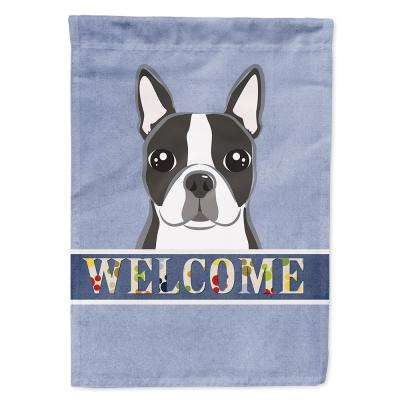 28 in. x 40 in. Polyester Boston Terrier Welcome Flag Canvas House Size 2-Sided Heavyweight