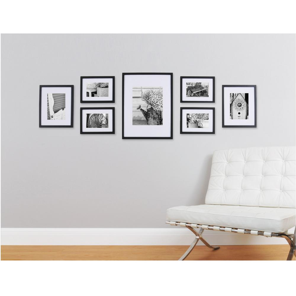 Pinnacle Gallery Perfect 7 Piece Wall Frame Set Black 11fw1443 The