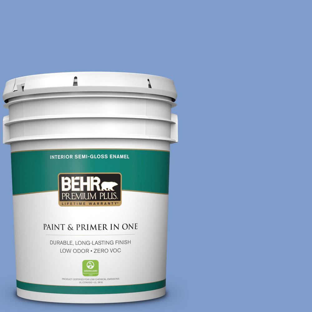 BEHR Premium Plus 5-gal. #BIC-09 Caribbean Sky Semi-Gloss Enamel Interior Paint