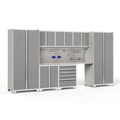 Pro Series 3.0 85.25 in. H x 156 in. W x 24 in. D 18-Gauge Steel Cabinet Set in Platinum (8-Piece)
