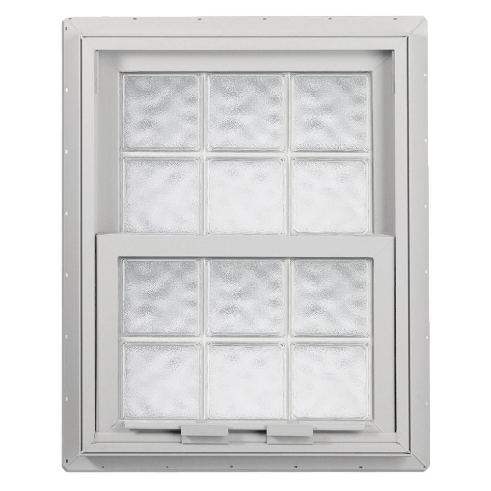 Hy-Lite 28.125 in. x 28.75 in. Acrylic Block Single Hung Vinyl Window - White