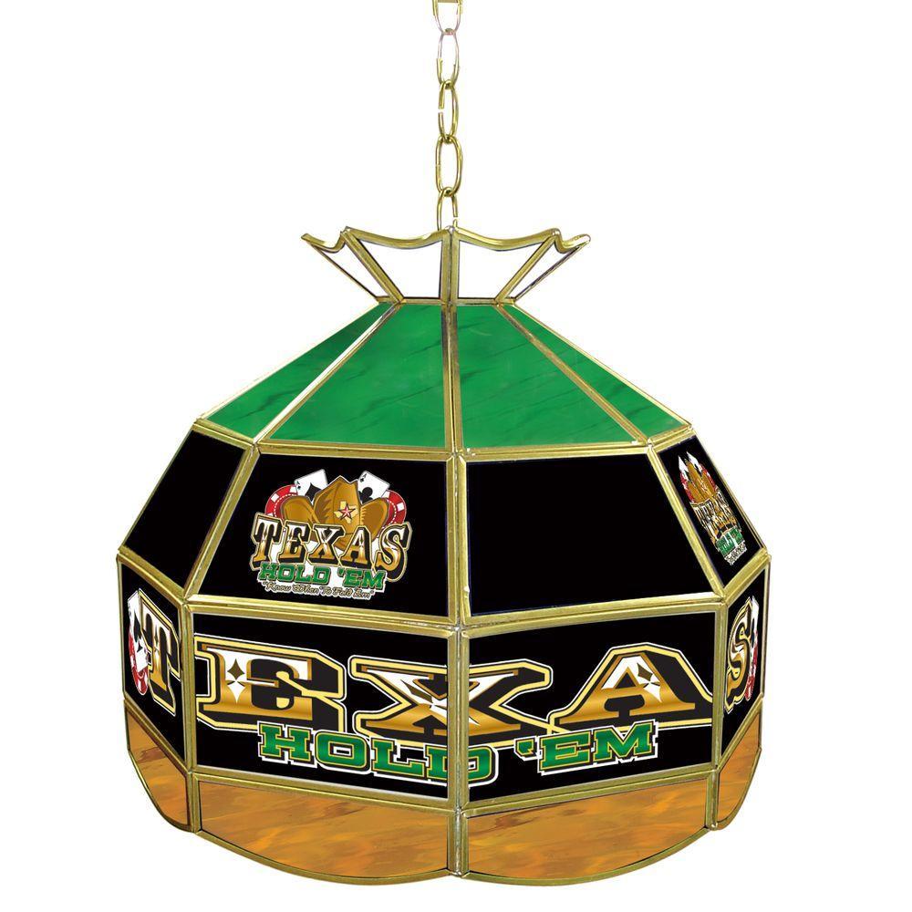 Trademark Global Texas Hold'em 16 in. Brass Hanging Tiffany Style Billiard Lamp