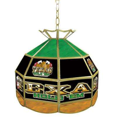 Texas Hold'em 16 in. Brass Hanging Tiffany Style Billiard Lamp
