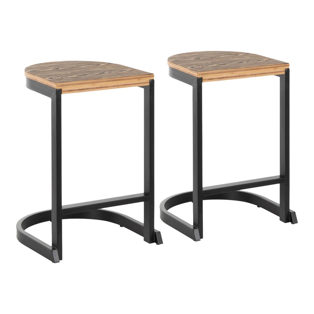 Lumisource Industrial Demi 24 In Black And Brown Counter Stool Set