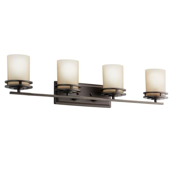 Hendrik 12 in. 4-Light Olde Bronze Vanity Light with Etched Glass Shade