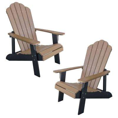 Tan with Black Accents 2-Tone Outdoor Adirondack Chair with Durable Faux Wood Construction (2-Piece Set)