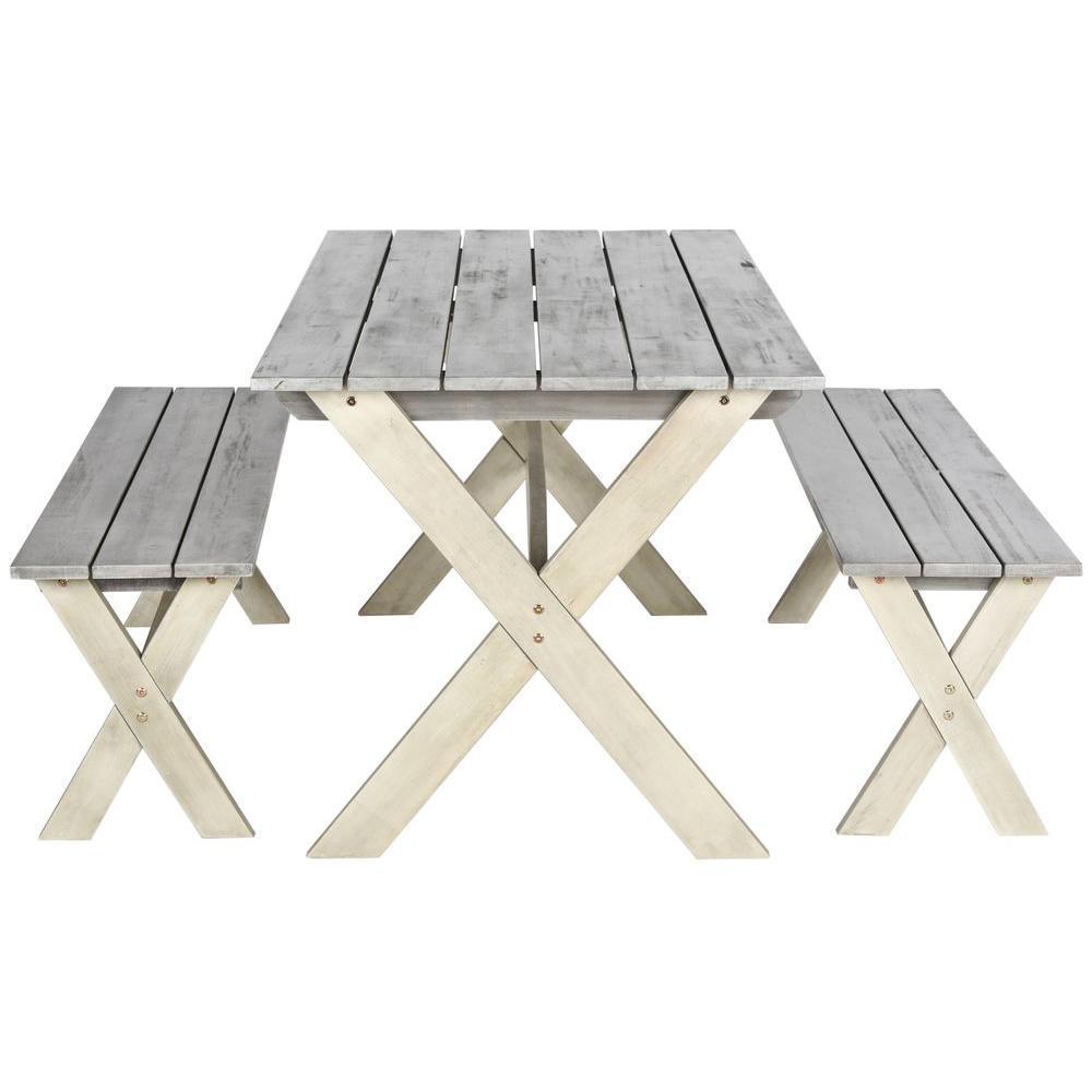 Marina Grey 3-Piece Wood Outdoor Dining Set