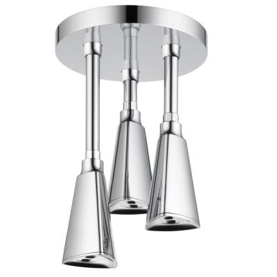 Zura Pendant 1-Spray 3.2 in. Triple Ceiling Mount Fixed H2Okinetic Shower Head in Chrome