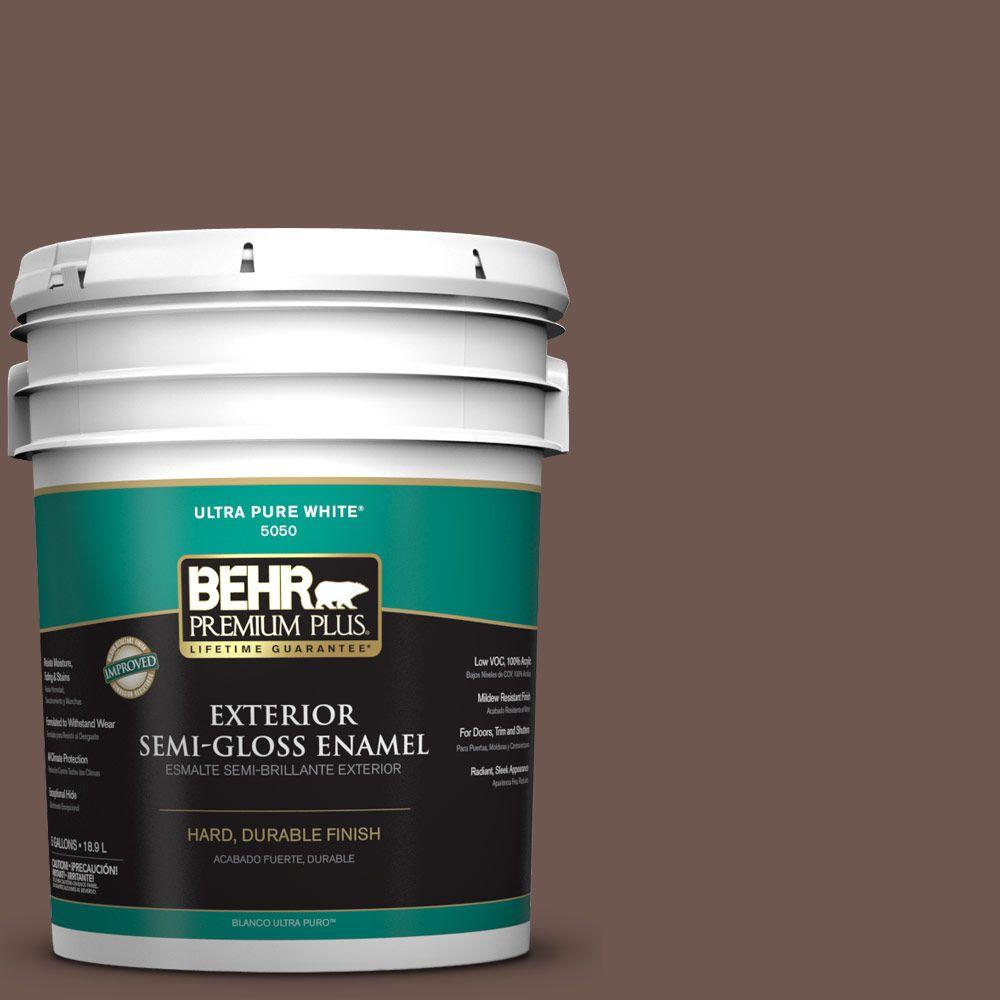 BEHR Premium Plus 5-gal. #N170-6 Natural Bark Semi-Gloss Enamel Exterior Paint
