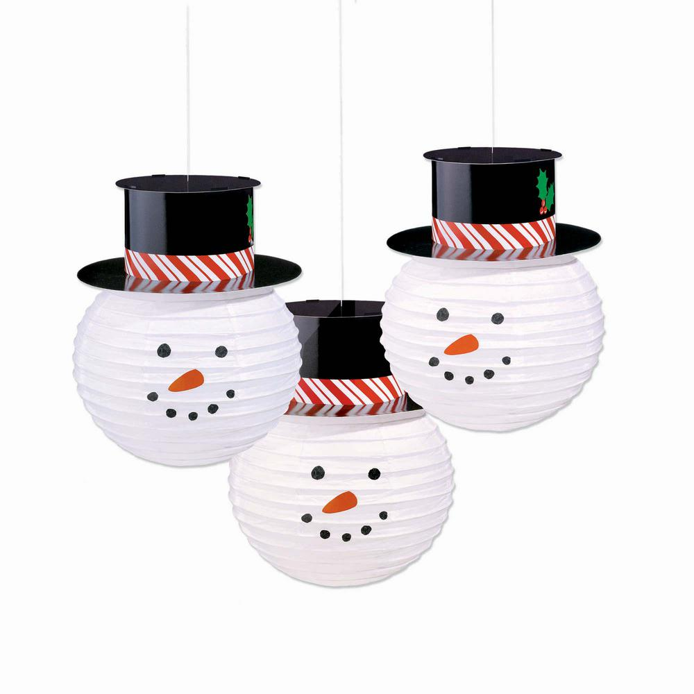 12.5 in. x 9.5 in. Paper Snowman Lanterns with Hats (3-Count)