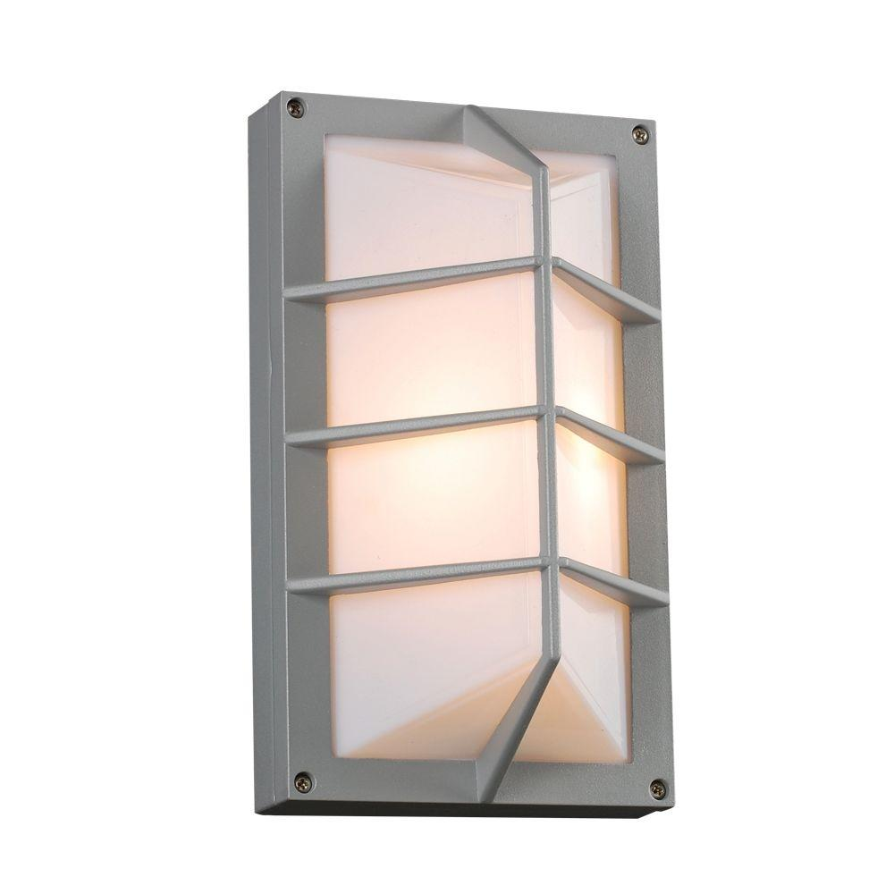 1-Light Outdoor Silver Wall Sconce with Opal Acrylic Lens