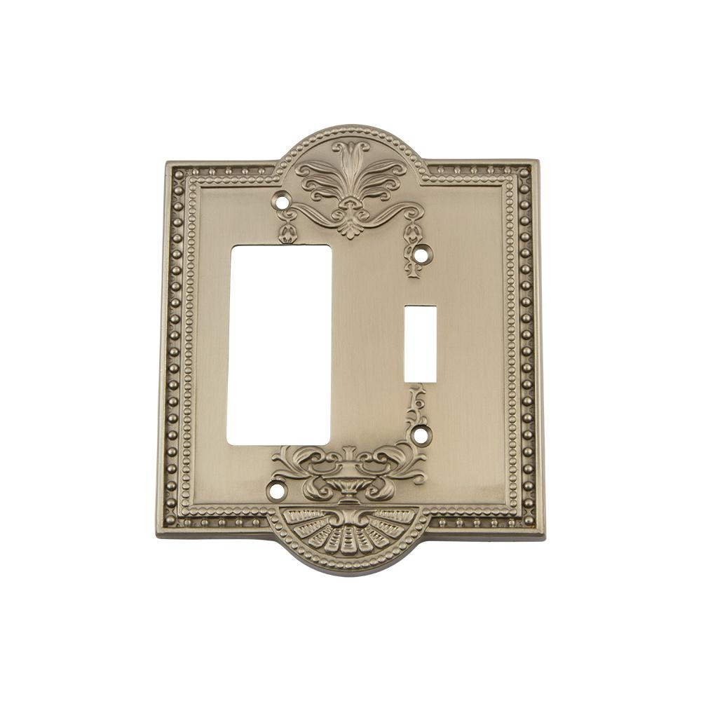 Meadows Switch Plate with Toggle and Rocker in Satin Nickel
