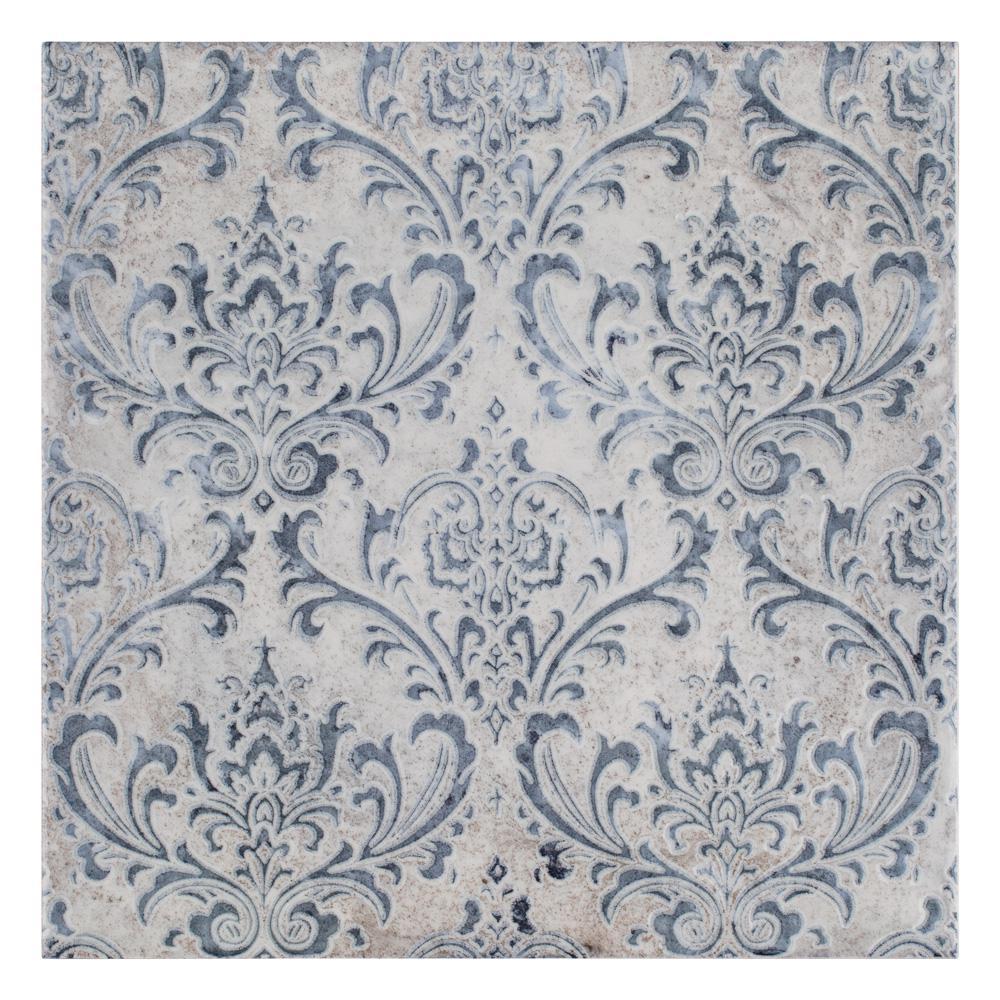 Merola Tile Milano Decor Daman Azul 7-7/8 in. x 7-7/8 in. Ceramic Wall Tile (11.29 sq. ft. / case)