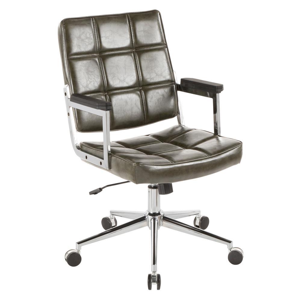 Bureau Green Faux Leather Office Chair