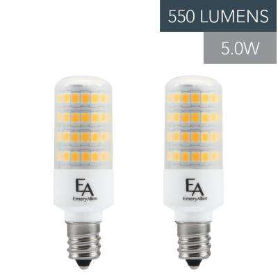 60-Watt Equivalent E12 Base Dimmable 2700K LED Light Bulb Warm White (2-Pack)