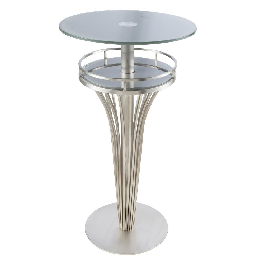Yukon Brushed Stainless Steel and Gray Frosted Glass Contemporary Bar Table