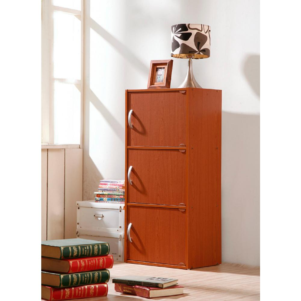 3-Shelf, 36 in. H Cherry (Red) Bookcase with Doors