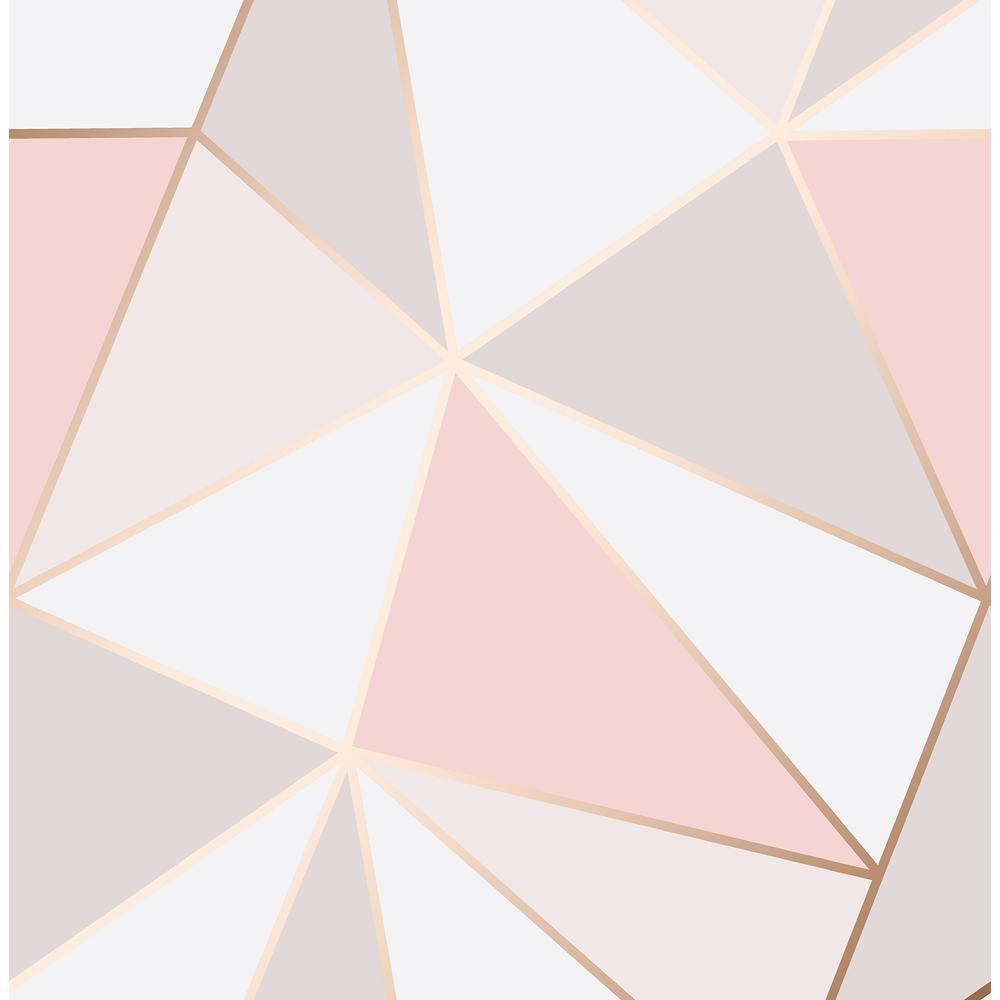 56 4 Sq Ft Arken Rose Gold Geometric Wallpaper