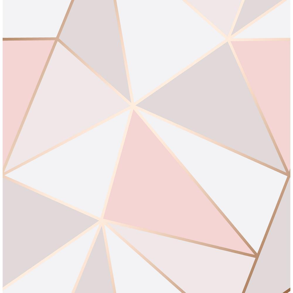 56.4 sq. ft. Arken Rose Gold Geometric Wallpaper