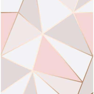 56.4 sq. ft. Arken Rose Gold Geometric Wallpaper
