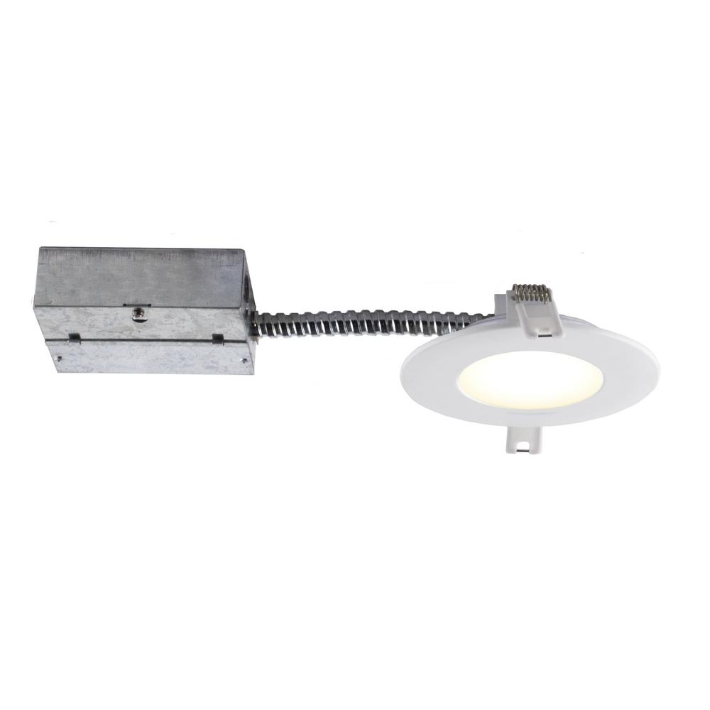 Bazz Slim 4-in. Matte White Integrated LED Recessed Fixture Kit
