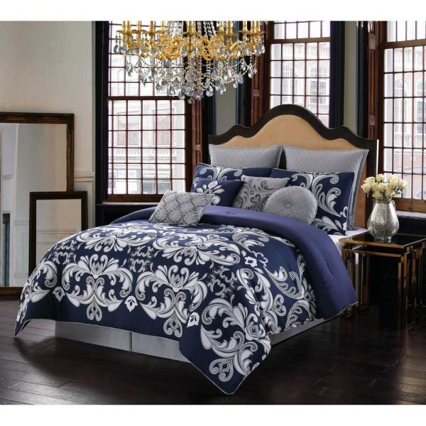 Style 212 Dolce 10 Piece Silver And, Navy Blue Bedding Sets Queen