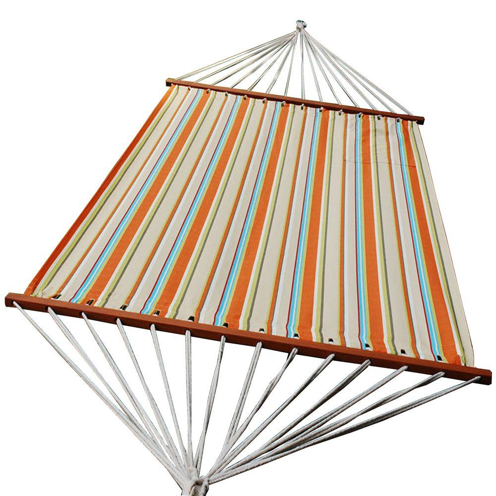 Charming Olefin Swing Hammock In Orange Stripe