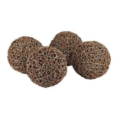 Set of 4- 9 in. Round Natural Rope Decorative Orbs