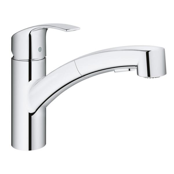 Grohe Eurosmart Single Handle Pull Out Sprayer Kitchen Faucet In Starlight Chrome 30306000 The Home Depot