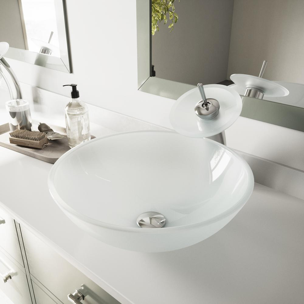 VIGO Glass Vessel Bathroom Sink in White Frost with Waterfall Faucet Set in Chrome