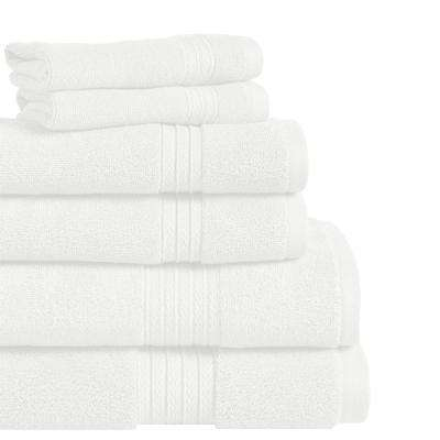 Summit 6-Piece 100% Cotton Bath Towel Set in White