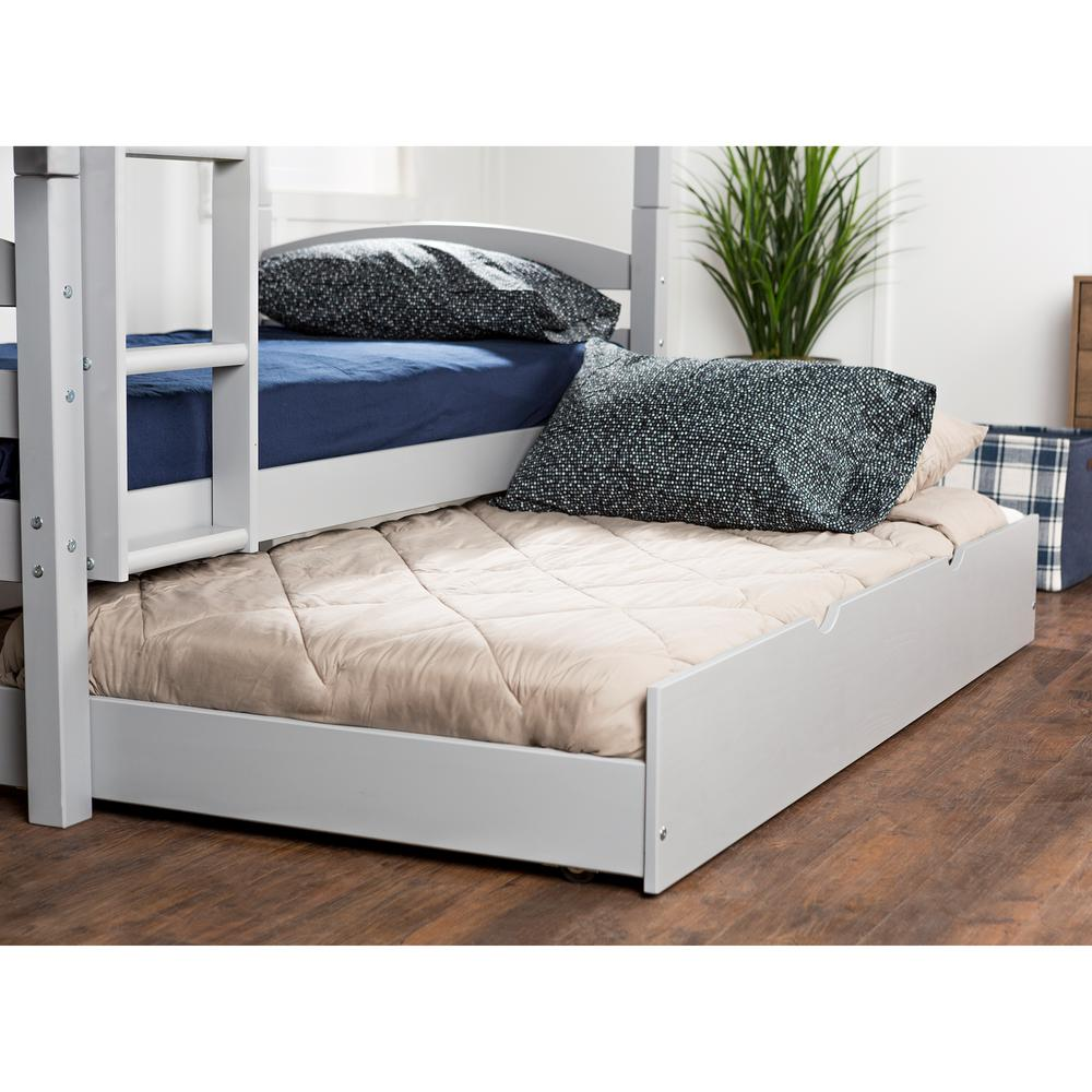 Walker Edison Furniture Company Grey Solid Wood Twin Trundle Bed Hdtw40gy The Home Depot
