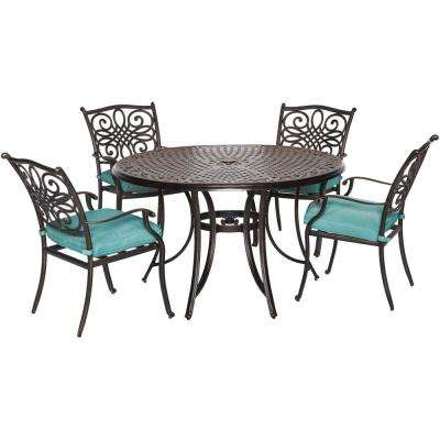 Seasons 5-Piece All-Weather Round Patio Dining Set with Blue Cushions