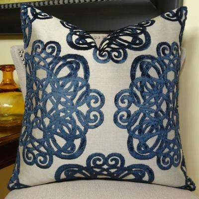 Archetype Sapphire 20 in. x 30 in. Queen Navy and Taupe Hypoallergenic Down Alternative Double Sided Throw Pillow
