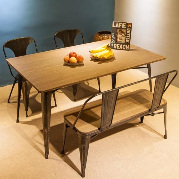 Black Rectangular Dining Table with Metal Legs