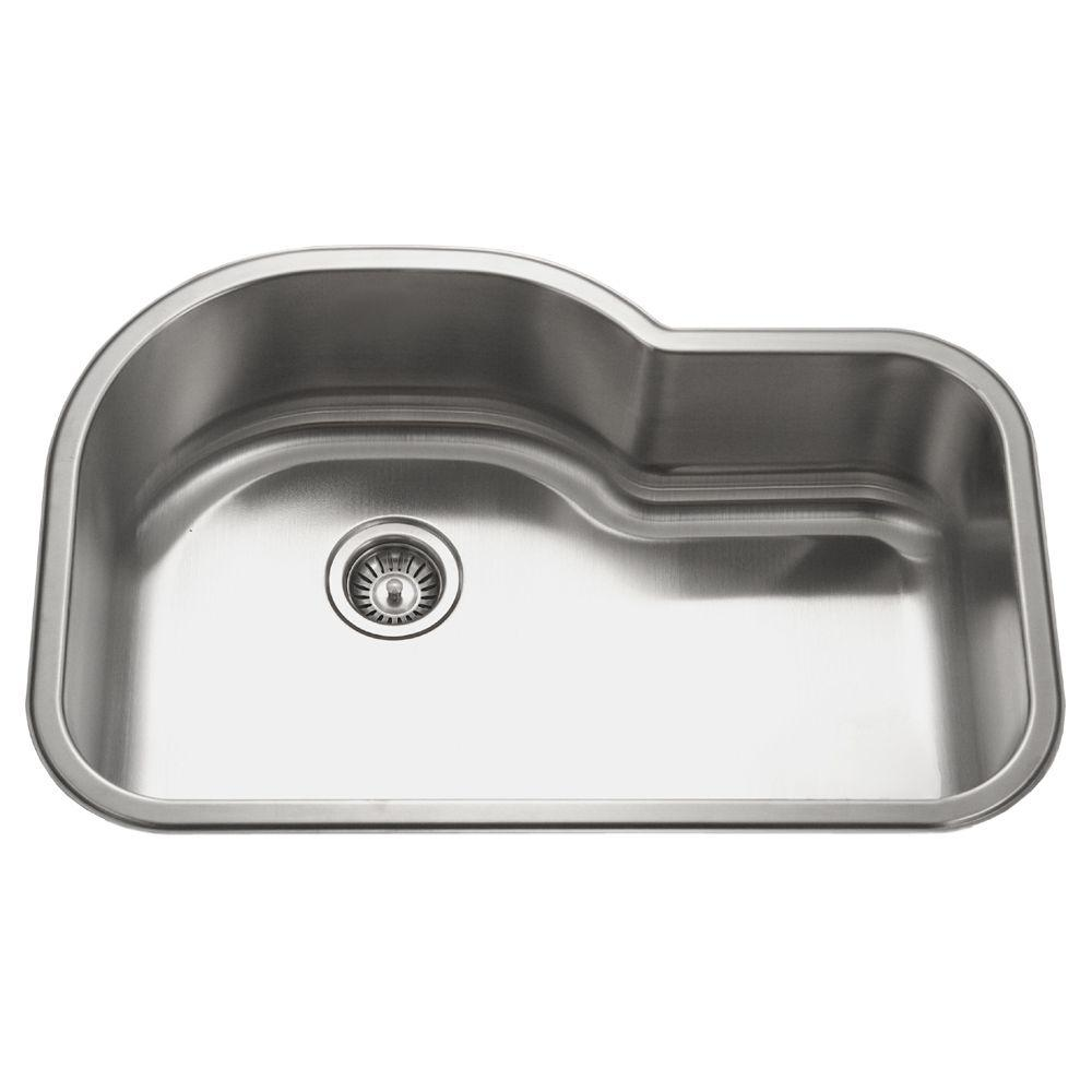 Bon HOUZER Medallion Undermount Stainless Steel 31.5 In. Offset Single Bowl  Kitchen Sink In Lustrous Satin