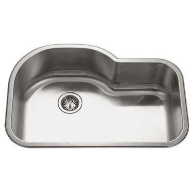 Medallion Undermount Stainless Steel 31.5 in. Offset Single Bowl Kitchen Sink in Lustrous Satin