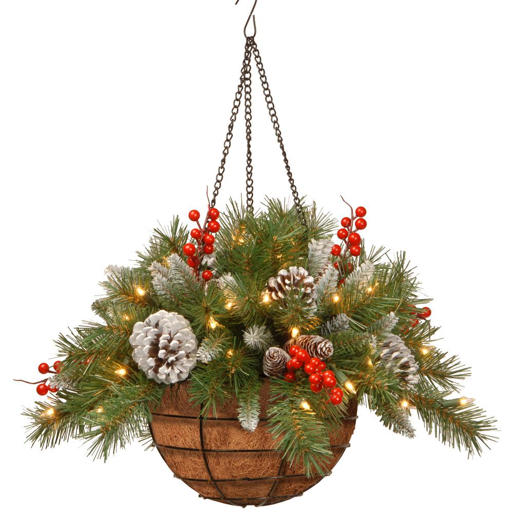 Frosted Berry Hanging Basket With Battery Operated Warm White Led Lights Frb 20hlw B1 The Home Depot