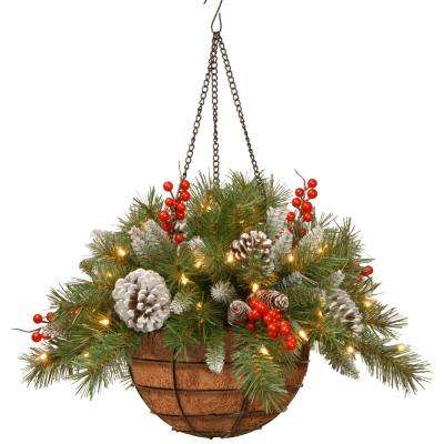 20 in. Frosted Berry Hanging Basket with Battery Operated Warm White LED Lights