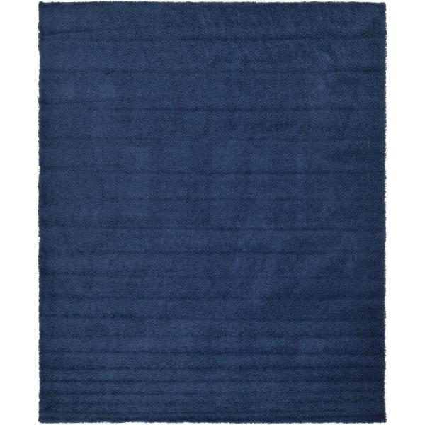 Solid Shag Navy Blue 12 ft. x 15 ft. Area Rug