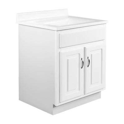 24 in. x 21 in. x 30 in. 2-Door Bath Vanity in White w/ 4 in. Centerset Solid White CM Camilla Vanity Top w/ White Basin