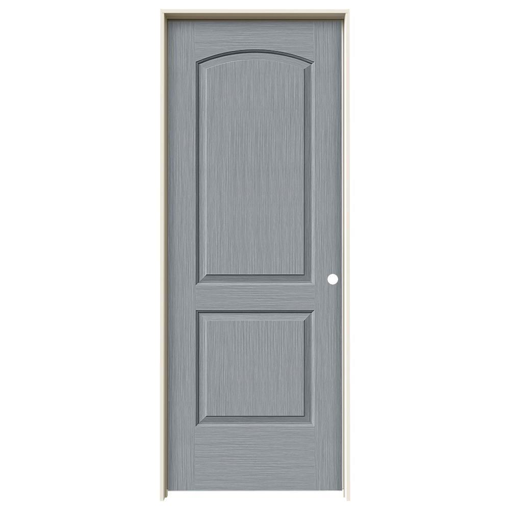Jeld Wen 32 In X 80 In Continental Stone Stain Left Hand Solid Core Molded Composite Mdf