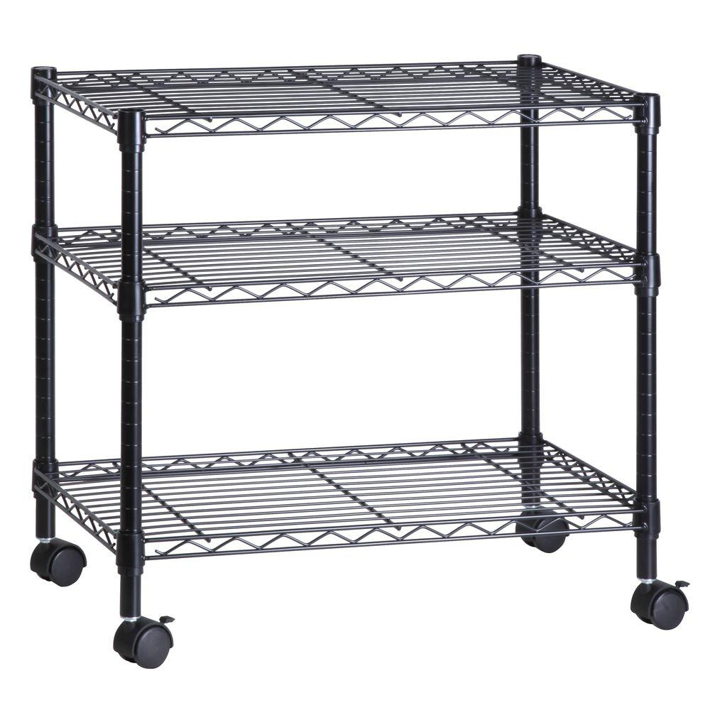 Go Home Black Industrial Kitchen Cart At Lowes Com: Honey-Can-Do 3-Shelf Portable Multimedia Cart, Black-CRT
