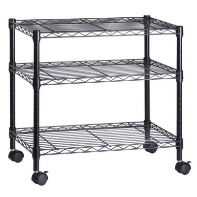 3-Shelf Portable Multimedia Cart, Black