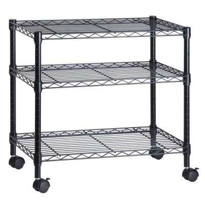 3-Shelf Steel Wire Cart in Black
