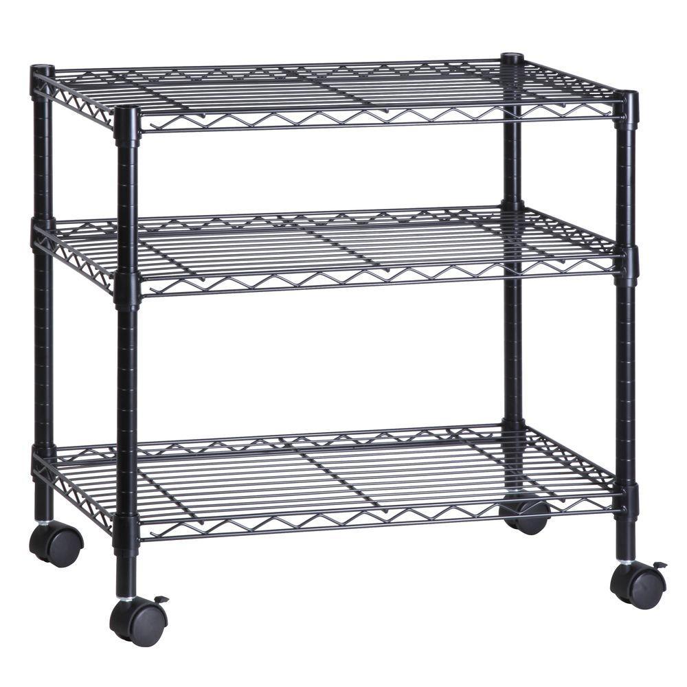 3-Shelf Portable Multimedia Cart, Black