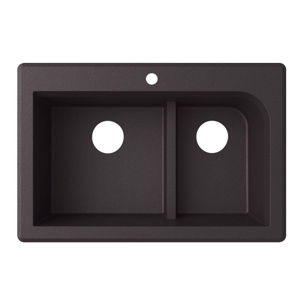 Swan Drop-in Granite 22 in. 1-Hole Low Divide Double Bowl Kitchen Sink in Nero