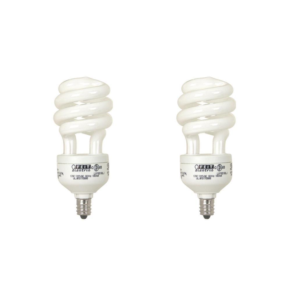 60-Watt Equivalent Soft White A19 Spiral Candelabra CFL Light Bulb (2-Pack)