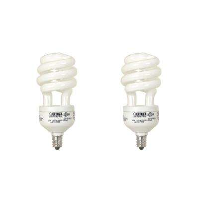 60-Watt Equivalent Soft White A19 Spiral Candelabra CFL Light Bulb (2-Pack)
